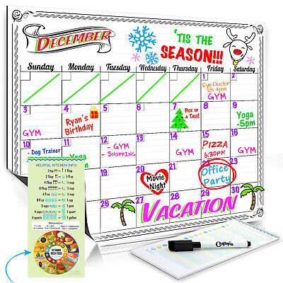 Magnetic Dry Erase Whiteboard Calendar For Fridge Refrigerator Weekly Planner