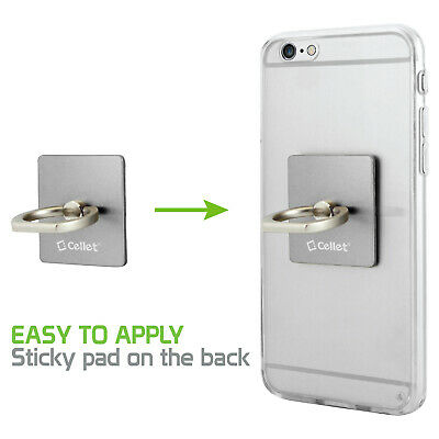 Cellet Silver Ring Stand Phone Holder Clip Sticky Pad for Sm