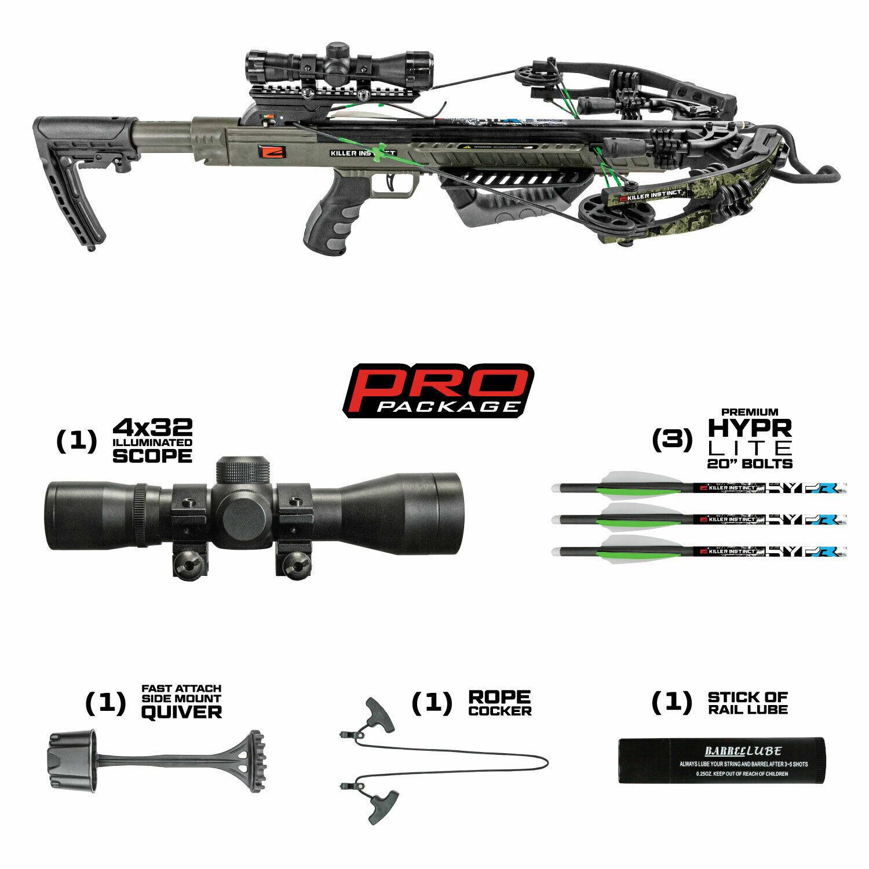 Killer Instinct Boss 405 Lighted Scope Crossbow Package BONUS 6 BROADHEADS