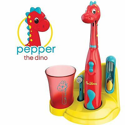 Brusheez Kids Electric Battery Powered Toothbrush Set - Pepper the Dino