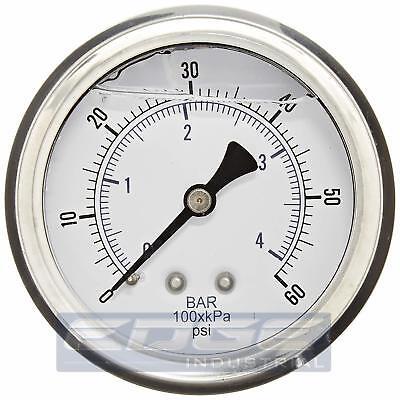 Liquid Filled Pressure Gauge 0-60 Psi 2.5 Face 14 Back Mount Wog