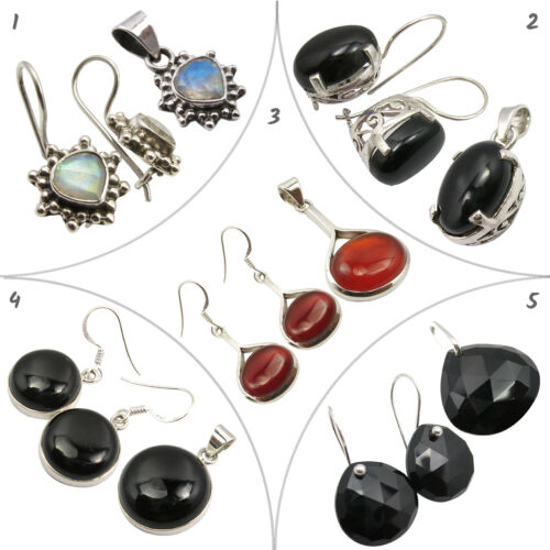 5 Sets 925 Silver Earrings Pendants Natural CARNELIAN Discount Jewelry Mixed Lot