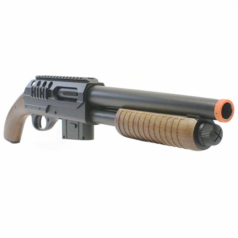 Airsoft Shotgun M47C Tactical Pump Action Rifle 320 FPS Saw Off Buttstock Wood