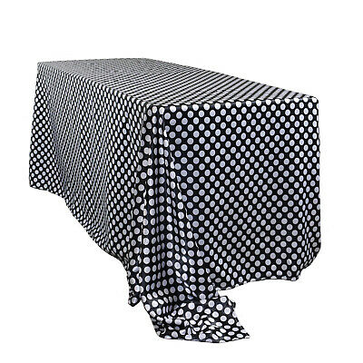 90 x 132 inch Rectangular Satin Tablecloth Black/White Polka - Black And White Polka Dot Table Cloth
