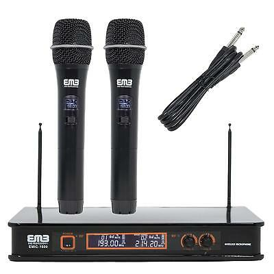 - Professional VHF Wireless Microphone System Dual Handheld 2 x Mic + Receiver