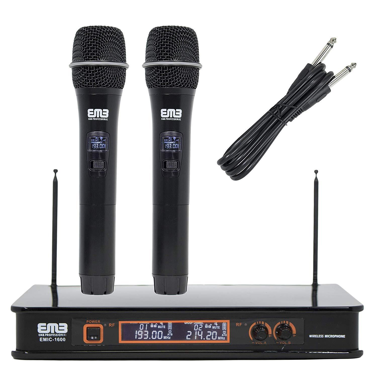 EMB VHF EMIC1600 Professional Dual Wireless Microphone Syste