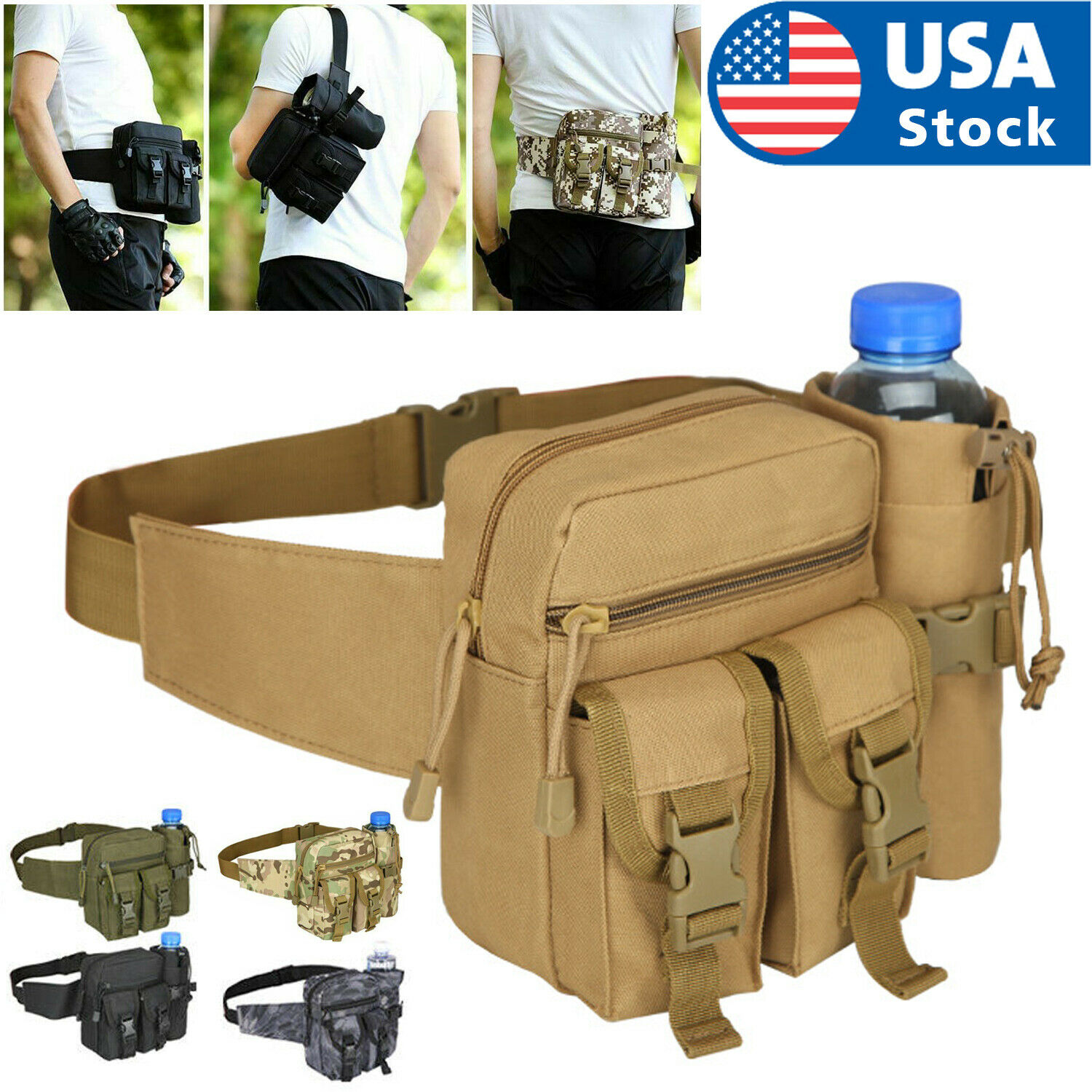 Outdoor Utility Tactical Waist Fanny Pack Pouch Military Camping Hiking Belt Bag Bags