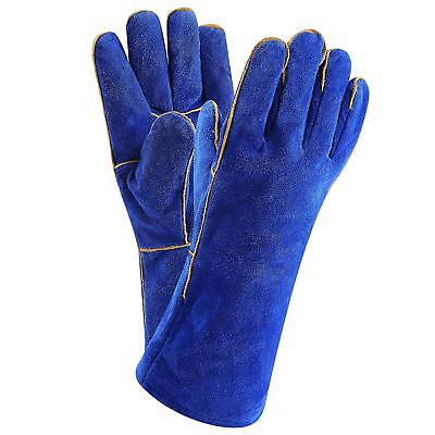 14 Inch Welding Gloves Heat Resistant Lined Leather Blue for Tig Welders BBQ