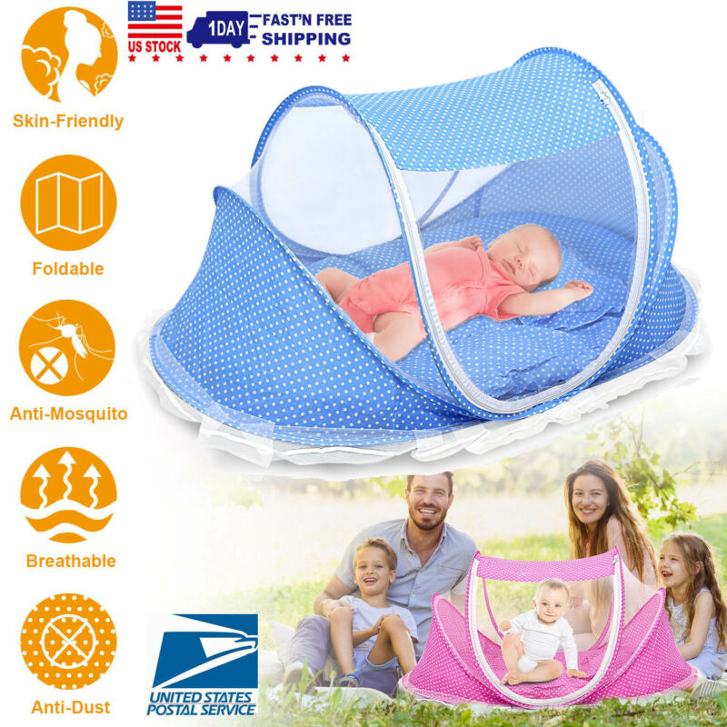 Travel Bassinet Infant Sleeping Basket Foldable Baby Bed Sunshade Mosquito Net