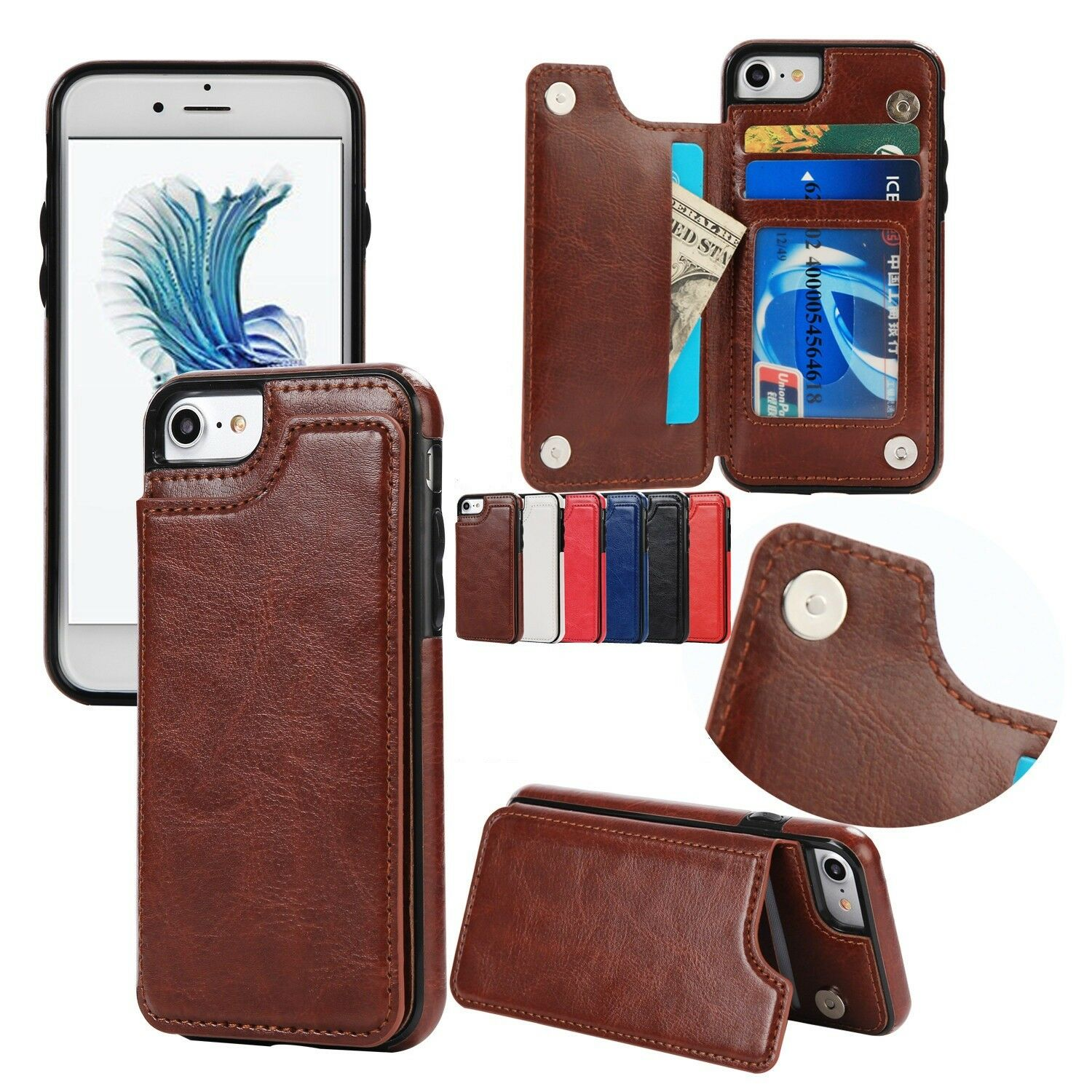Flip Stand Leather Wallet Card Back Case For iPhoneXS Max/X/8/7/6/6s/Plus