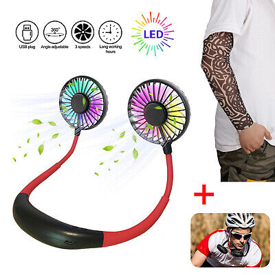 Neckband USB Double Fan Hand Free Portable Mini Hanging LED Light + Arm Sleeve - Led Light Fan