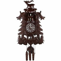 Large Deer Handcraft Wood Cuckoo Clock w/ 4 Dancers Dancing  w/ Music cc106 kd10