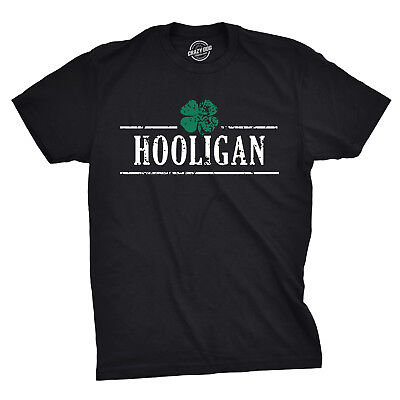 Mens Irish Clover Hooligan Funny Drinking Saint Patricks Day T shirt