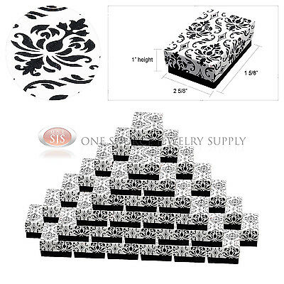 50 Damask Print Gift Jewelry Cotton Filled Boxes 2 58 X 1 58 X 1 Earrings