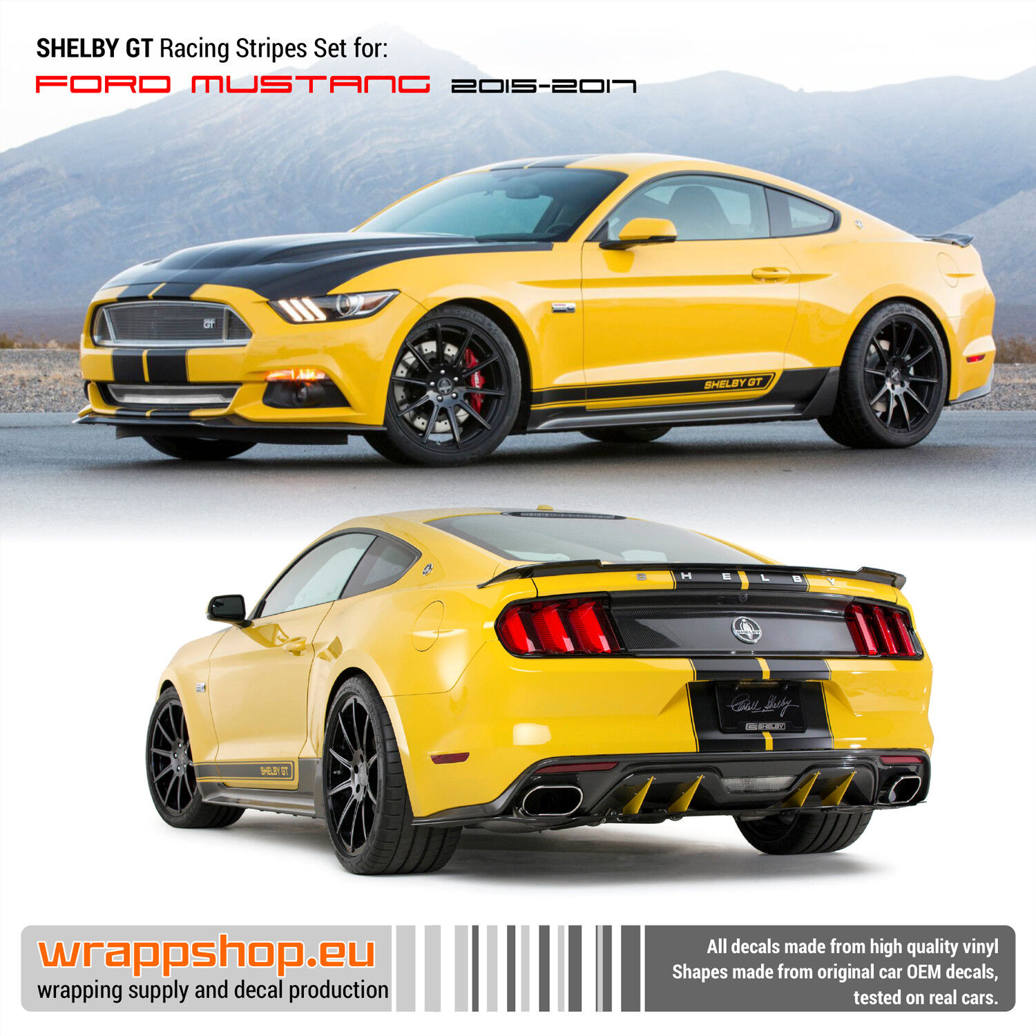 Details about mustang shelby gt racing stripes set 2015 2016 2017 2018