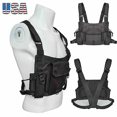 Mens Women Chest Rig Bag Vest Hip Hop Streetwear Tactical Harness Pack Black US
