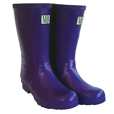 Moneysworth & Best M&B Short Rubber Rain Mud Boots, Purple, Size 7 NIB