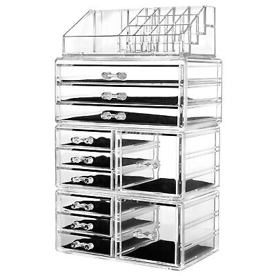 Acrylic Cosmetic Organizer Makeup Case Holder Jewelry Storage Box+Drawers US