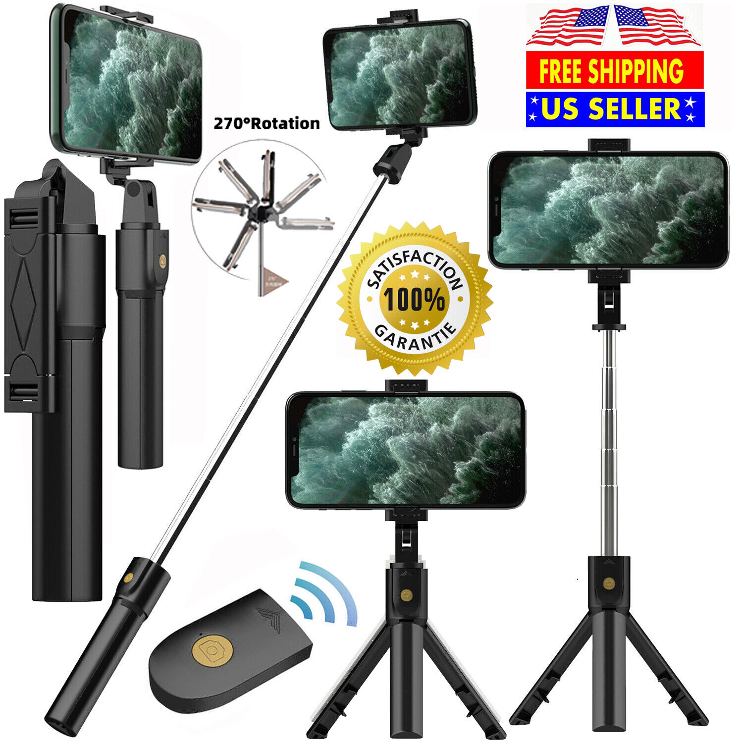 Selfie Stick Tripod Bluetooth Selfie Stick Wireless Remote F