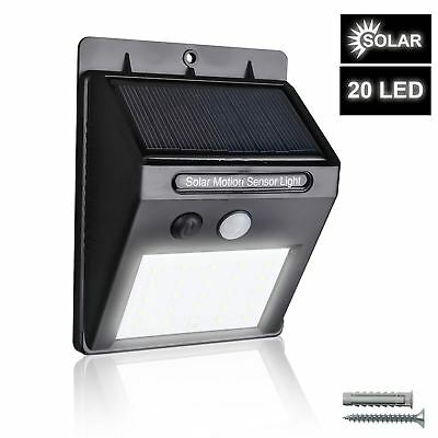 Lámpara 20LED Exterior Luz pared Impermeable Solar con Sensor movimiento
