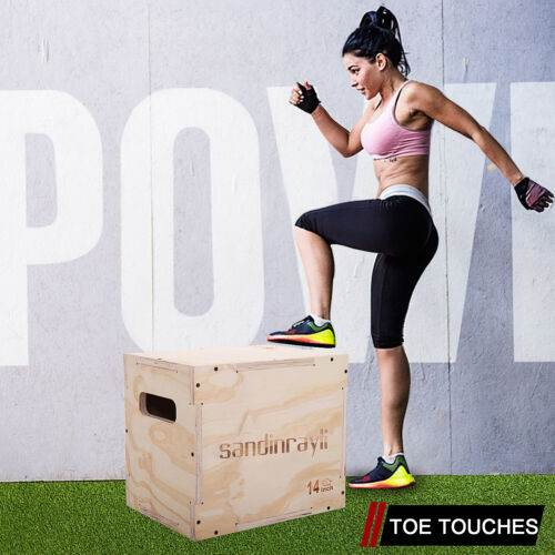 3-in-1 Wood Plyometric Box for Jump Training and Conditioning Plyo Exercise SML