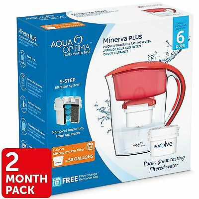 Aqua Optima Minerva Compact Slim Fridge Water Jug 2.5L + 60Day Filter fit Maxtra