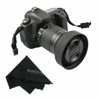 67mm Rubber 3in1 Collapsible Lens Hood for Sony Canon Nikon Pentax+67mm Lens Cap 1 Collapsible Rubber Lens