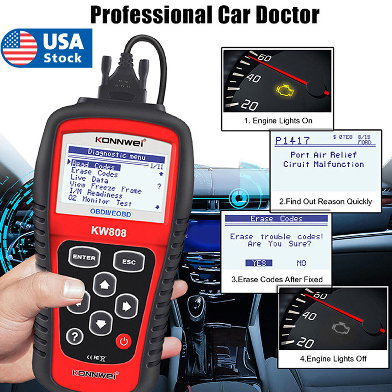 MS509 KW808 OBD2 OBDII EOBD Scanner Car Code Reader Tester Diagnostic Automotive Tools & Supplies
