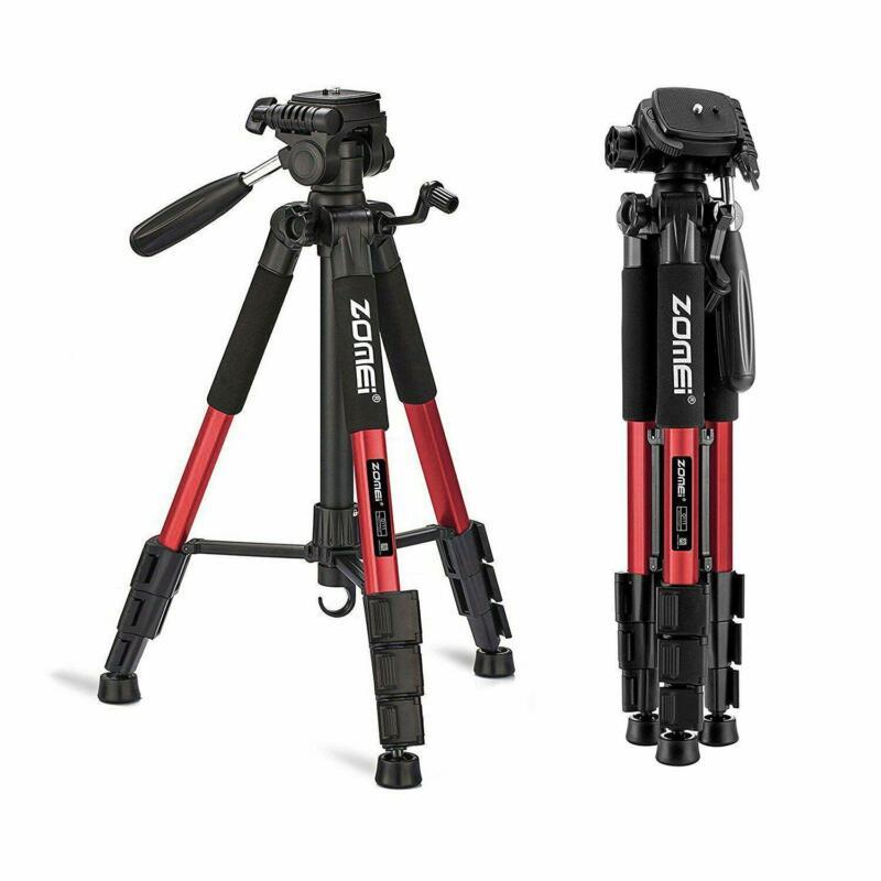 """ZOMEI Q111 55"""" Professional Aluminum Alloy Camera Tripod for DSLR Camera Red"""