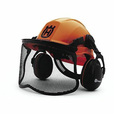 Husqvarna Chain Saw Helmet Safety Hard Hat Hearing Protectors Face Shield Combo
