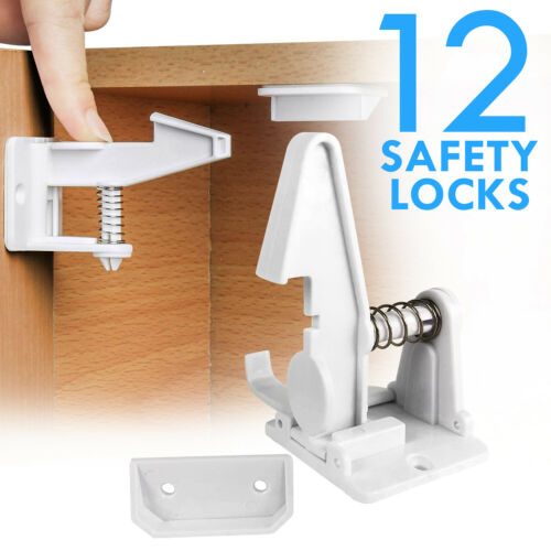 Cabinet Locks Child Safety Latch Baby Proof Lock Drawer 12 Pack White