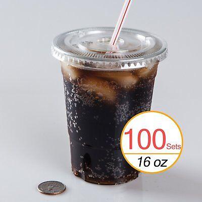 16 Oz Plastic Clear Drink Pet Cups With Flat Lids 100 Sets