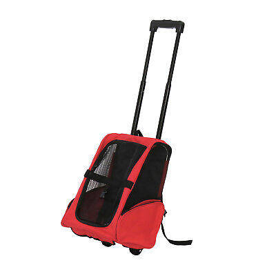 Pet Carrier Dog Cat Rolling Backpack Travel Tote Airline Crate Luggage Bag Red