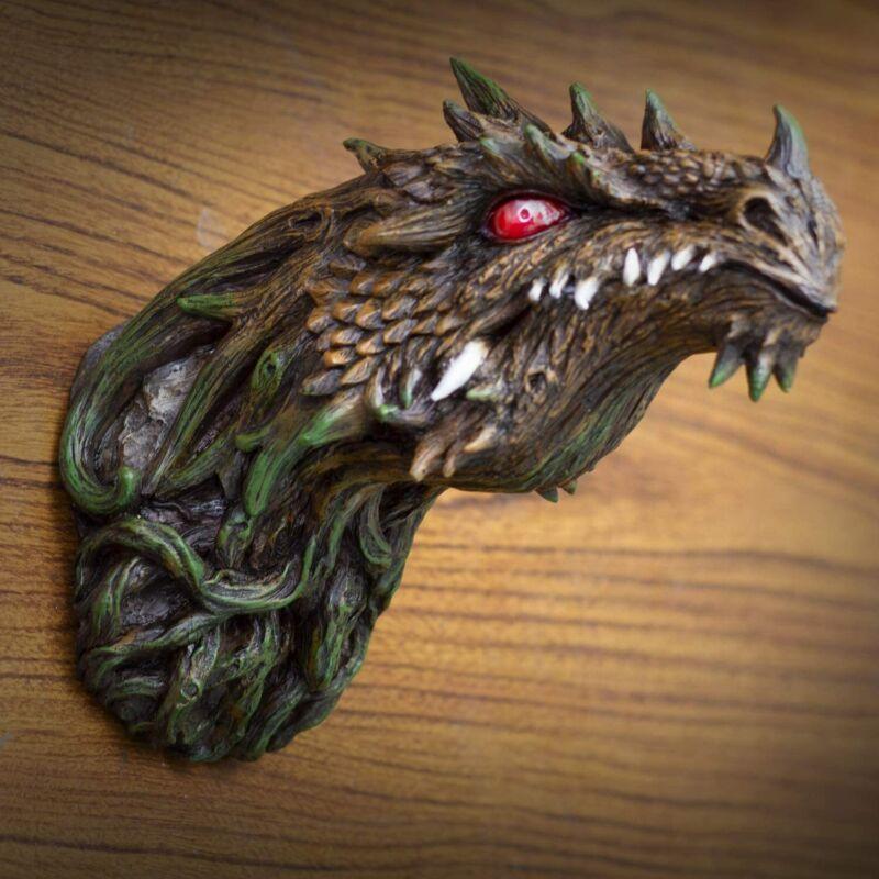 Fantasy Green Dryad Tree Greenman Dragon Head Wall Decor Plaque With LED Eyes