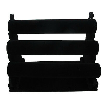 3-tier Black Velvet Jewelry Bracelet Watch Display Rack Holder - Countertop