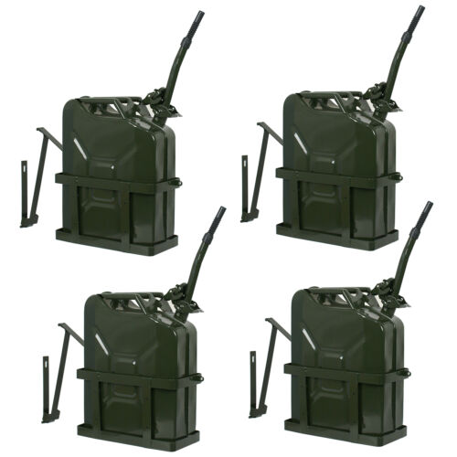 4x Jerry Can 5 Gallon 20L Fuel Army Backup Military Metal Steel Tank w/ Holder Air Intake & Fuel Delivery