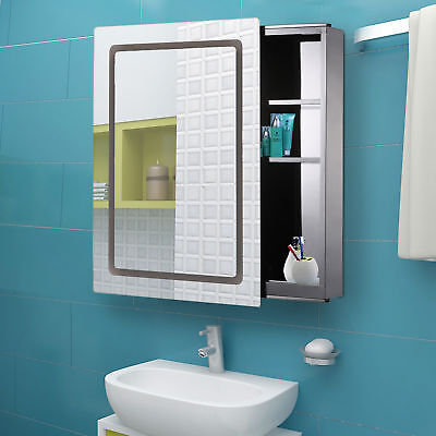 Morden LED Light Mirrored Medicine Cabinet Bathroom Storage w/ Sliding Door 30""
