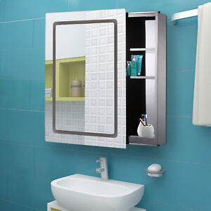 Morden Led Light Mirrored Medicine Cabinet Bathroom Storage W Sliding Door 30
