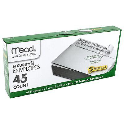 Mead No.10 Envelopes Press-it Seal-it 4-18 X 9-12 White 45 Count. 75026