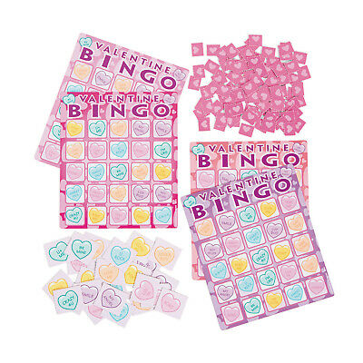 Valentine's Day CONVERSATION HEARTS Bingo Game BIRTHDAY Party Favors 16 players ()