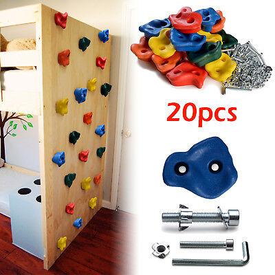 20 PCS Textured Climbing Holds Rock Wall and 40 PCS 8mm zinc plated Bolts & -