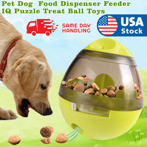 Pet Dog Interactive Tumbler Food Dispenser Feeder IQ Puzzle Treat Ball Toys US