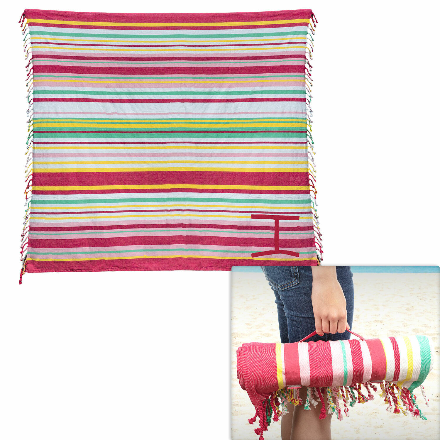100% Cotton Fringe Striped Beach Picnic Blankets Pink Yellow Roll-N-Go 60″ x 60″ Bedding