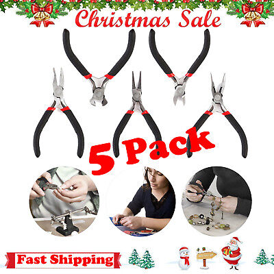 """5Pcs/Set Jewelry Making Beading Wire Wrapping Pliers Hobby 5"""" Jewelers Plier -US"""