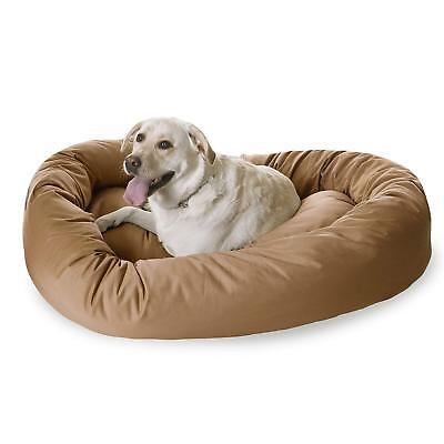 (NEW! L - XL Dog MAJESTIC PET Bed LARGE BREED Bagel-Style 360 BOLSTER 52x36 TAN)