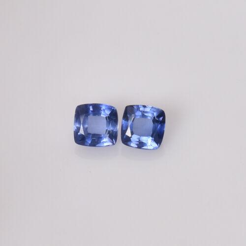 6.20 mm Natural Cornflower Blue Sapphire Pair Square Cushion Certified Gemstone