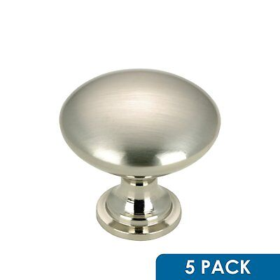 5 Pack - Rok Hardware Contemporary Metal Knob, Brushed Nickel, 1-3/16