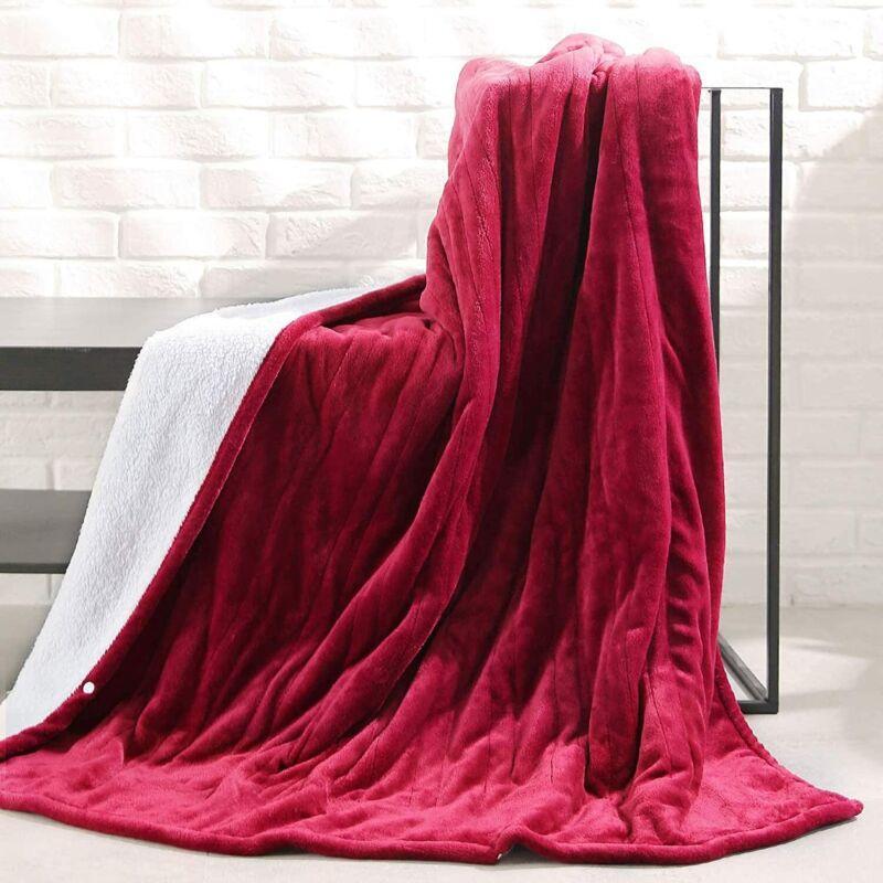 MaxKare Electric Blanket Heated Throw Flannel & Sherpa NA-t1611B