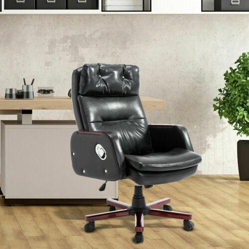 HOMCOM PU Leather Office Chair Adjustable Armrest Black Computer Swivel