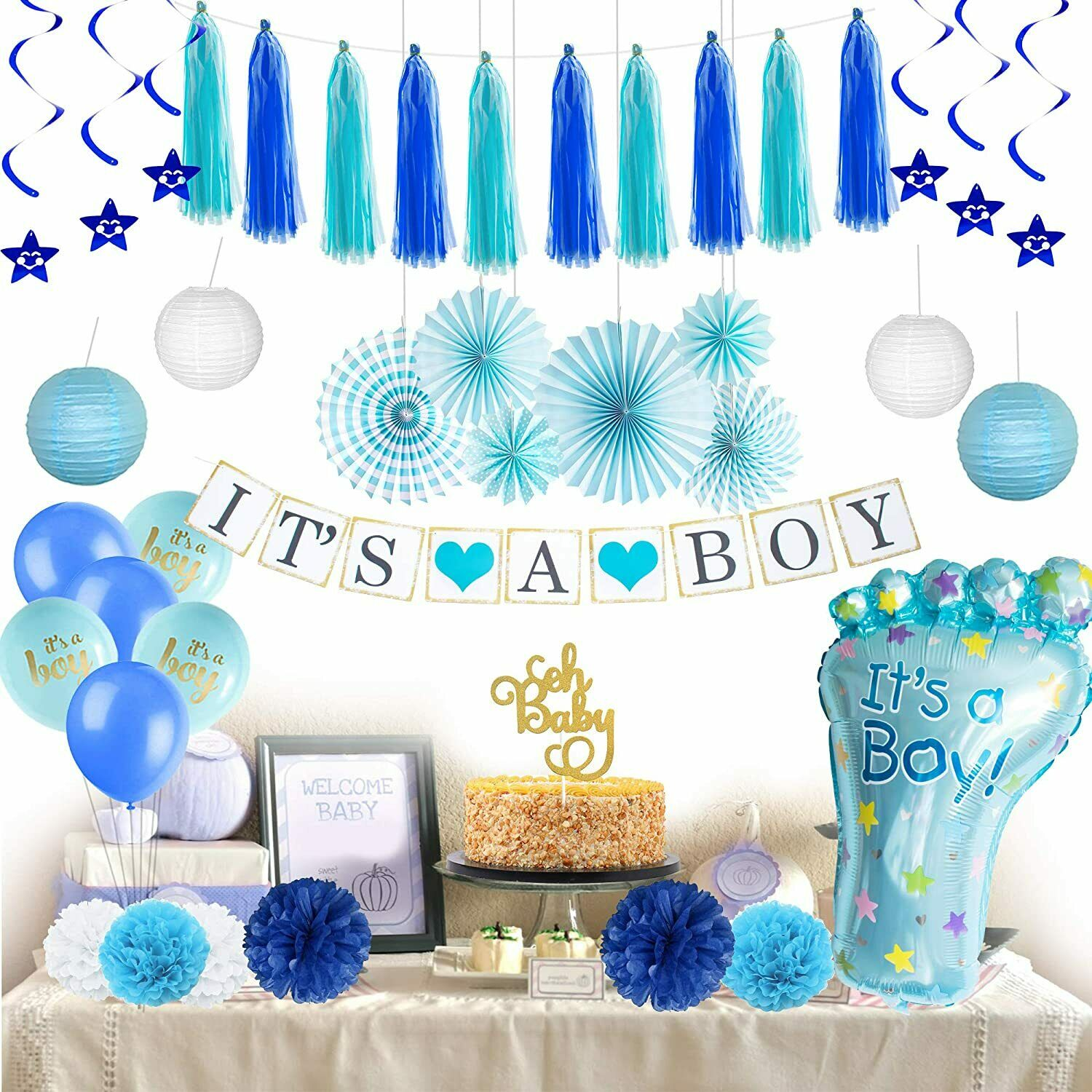 41 PCS Baby Shower Decorationsfor Boy Baby Shower Décor Boys Complete Premium Greeting Cards & Party Supply